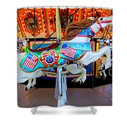 Carousel Horse With Flags Shower Curtain