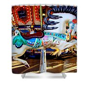 Carousel Horse With Leaves Shower Curtain