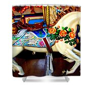 Carousel Horse With Roses Shower Curtain