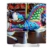 Carousel Horse With Sea Motif Shower Curtain
