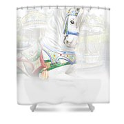 Carousel White Horse In A Child's World Shower Curtain