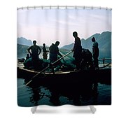 Carp Fishermen In Lake Formed By A Dam Shower Curtain