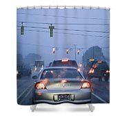 Cars And Traffic Lights In A Rain Storm Shower Curtain