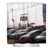 Cars In A Parking Lot At Surajkund Shower Curtain