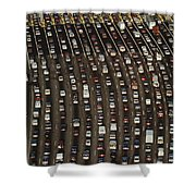 Cars Queue Up At A Tollbooth On The Bay Shower Curtain