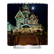 Carson Mansion At Christmas With Moon Shower Curtain