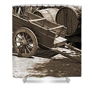 Cart And Wine Barrels In Italy Shower Curtain