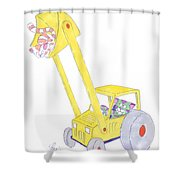 Cartoon Digger And Cats Shower Curtain