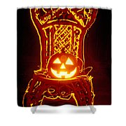 Carved Smiling Pumpkin On Chair Shower Curtain