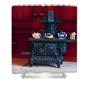 Cast Iron Stove With Teapots Shower Curtain