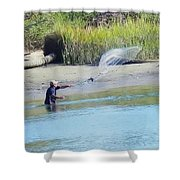 Casting For Shrimp At Hunting Island Shower Curtain