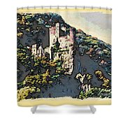 Castle Above The Rhine In Germany Shower Curtain