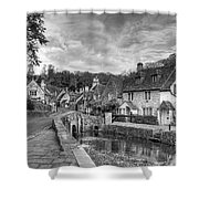 Castle Combe England Monochrome Shower Curtain