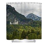 Castle Neuschwanstein With Alps In The Background Shower Curtain