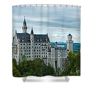 Castle Neuschwanstein With Surrounding Landscape Shower Curtain