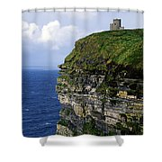 Castle On A Cliff, Obriens Tower Shower Curtain by The Irish Image Collection