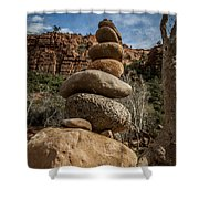 Castle Rock Cairn Shower Curtain by Darcy Michaelchuk