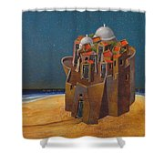 Castle With Two White Domes Shower Curtain
