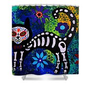 Cat Day Of The Dead Shower Curtain