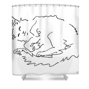 Cat-drawings-black-white-1 Shower Curtain