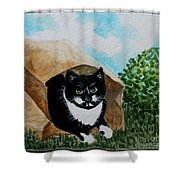 Cat In The Bag Shower Curtain