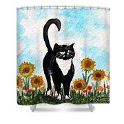 Cat Walk Through The Sunflowers Shower Curtain