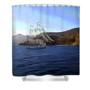 Catalina Shoreline Ghost Ship Shower Curtain