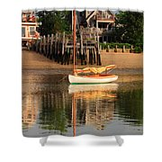 Catboat And Rippled Water Reflections Shower Curtain