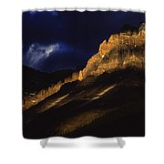 Cathedral Crags At Dusk, Yoho National Shower Curtain