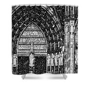 Cathedral In The Snow Panorama Shower Curtain