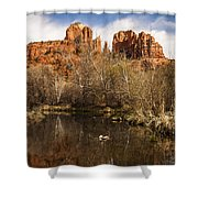 Cathedral Rock Reflections Portrait 1 Shower Curtain by Darcy Michaelchuk