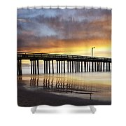 Cayucos Pier Reflected Shower Curtain