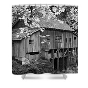 Cedar Creek Grist Mill Bw Shower Curtain