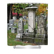 Cemtery Cracked Tombstones Shower Curtain