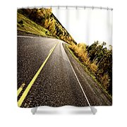 Center Lines Along A Paved Road In Autumn Shower Curtain