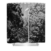 Central Park Flag In Black And White Shower Curtain