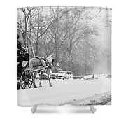 Central Park In Falling Snow Shower Curtain by Axiom Photographic