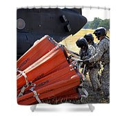 Ch-47 Chinook Helicopter Crew Prepare Shower Curtain