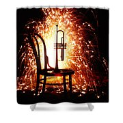 Chair And Horn With Fireworks Shower Curtain