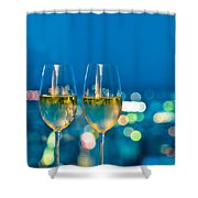 Champagne Glasses In Front Of A Window Shower Curtain