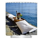Champagne With Two Pillows Shower Curtain