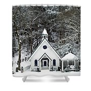 Chapel In The Snow - D007592 Shower Curtain by Daniel Dempster
