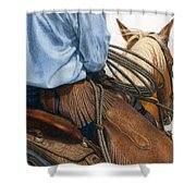 Chaps Shower Curtain by Pat Erickson