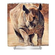 Charging Rhino Shower Curtain