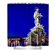 Charles Bridge Statue Of St John Of Nepomuk     Shower Curtain by Jon Berghoff