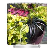 Chartreuse And Purple Plants Shower Curtain