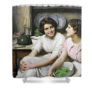 Chatterboxes Shower Curtain by Thomas Benjamin Kennington