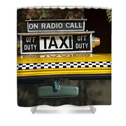Checker Taxi Cab Duty Sign 2 Shower Curtain
