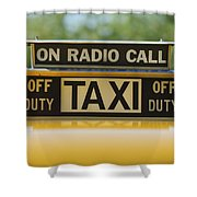 Checker Taxi Cab Duty Sign Shower Curtain