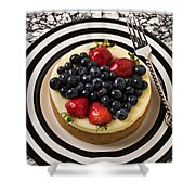 Cheese Cake On Black And White Plate Shower Curtain